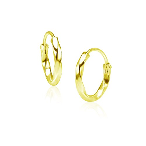 (Big Apple Hoops - Yellow Gold Flash Genuine Sterling Silver Small Twisted Endless Hoop Earrings 1.8mm x 12mm)