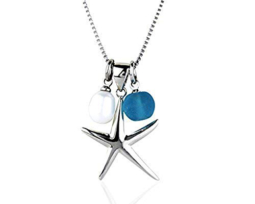Maui Clothing Company Fashion Starfish Charm Rhodium Plated Necklace with Pearl (Plated Rhodium, Blue)