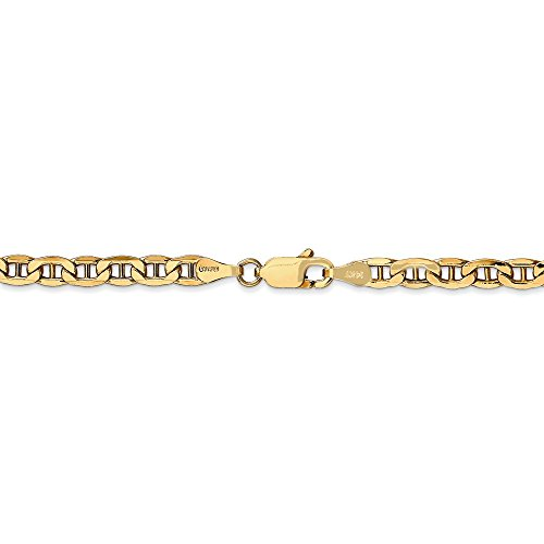 8 Inches 14k Gold Anchor - 4 mm 14k Yellow Gold Lightweight Anchor Chain Bracelet - 8 Inch