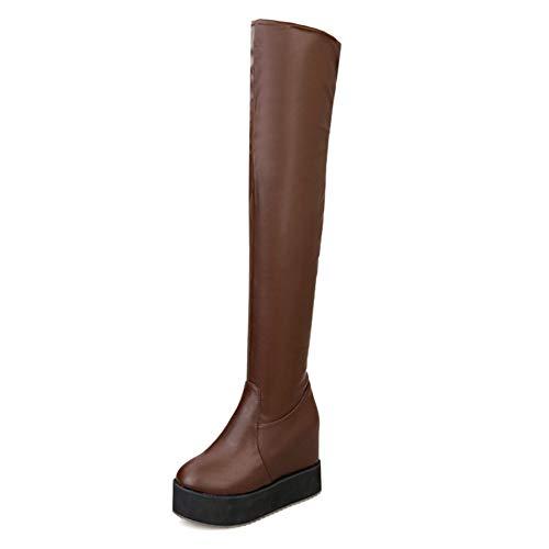 Grandes Tailles Femme Brown Chaussures La Mode Genou Bottes Sur 43 Le Hauts Talons 32 Plateforme Intérieur Rue De Femmes Style Longue Hoesczs 4A15dqwA