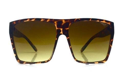 Tortoise Brown Flat Top Huge Big Oversized XXL Square Women Sunglasses
