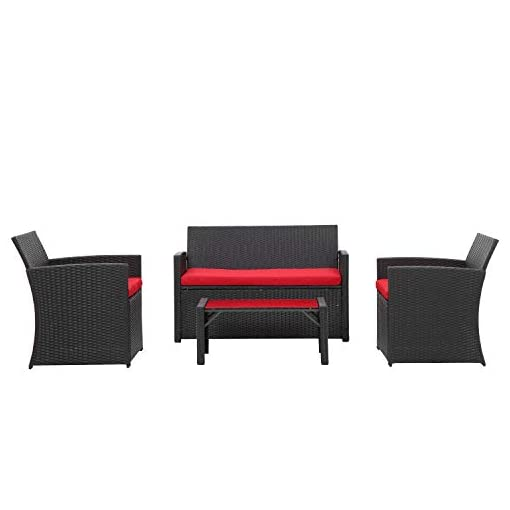 Garden and Outdoor 4 Pieces Outdoor Patio Furniture Set Black Wicker Rattan Cousioned Sectional Conversation Sofa with Coffee Tea Table for… patio furniture sets