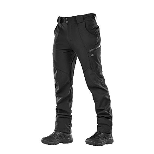 M-Tac Winter Tactical Pants Soft Shell Insulated Fleece Lined Cargo (Black, - Pant Ski Soft Shell