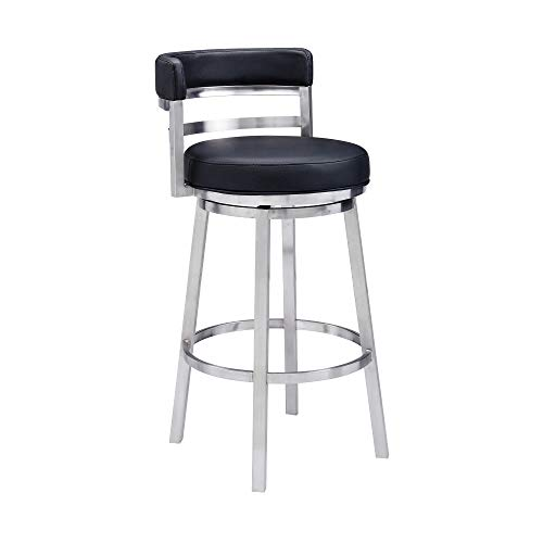 Madrid Bar Stool, 26″ Counter Height, Black