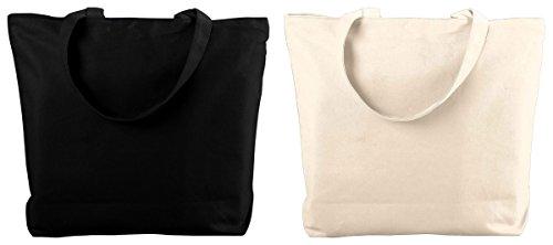 Augusta Sportswear Women's Canvas Zipper Totes Set_BLACK & NATURAL_One Size