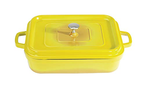 G.E.T. Enterprises Yellow 5 Quart Rectangular Roaster Pan, Cast Aluminum with Lid and Handles Heiss CA-010-Y/BK