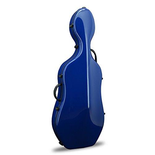 Crossrock Fiberglass Cello 4/4 Full Size Hardshell Case with Wheels in Navy -