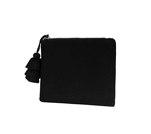Small Clutch Purse Handbag Bag for Women Vegan Faux Suede Casual Pouch with Tassel Accent(BLACK)