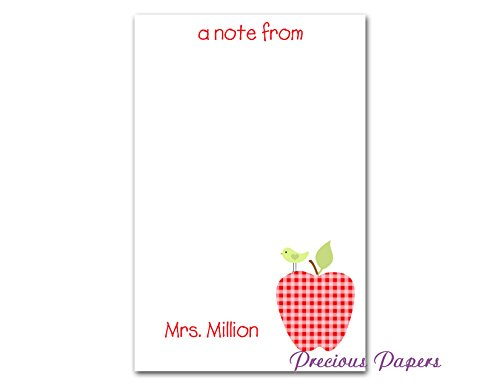 Personalized Teacher gift Personalized teacher red gingham apple notepad (Personalized Stationery For Teachers)