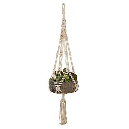Macrame Plant Hangers, Hanging Basket, Hanging Plant Holder, Bohemian Decor, Plant Pots Indoor, Hanging planters for Indoor Plants, Outdoor Plant Hangers, Natural Cotton Handmade Indoor Planter