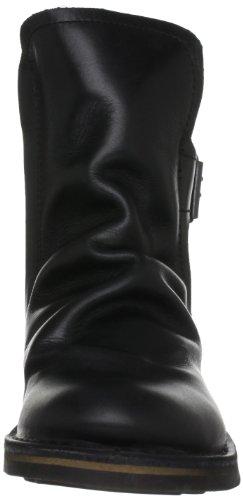 Fly London Ning 2P210727 - Botas estilo motero de cuero para mujer Negro