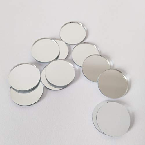 Round Glass Mirror Mosaic Tiles,Crafts Glass Mirror Tiles,Real Circle Glass Mirror Table Scatter, Round Mirror Mosaic (Silver, 3/4 in) -