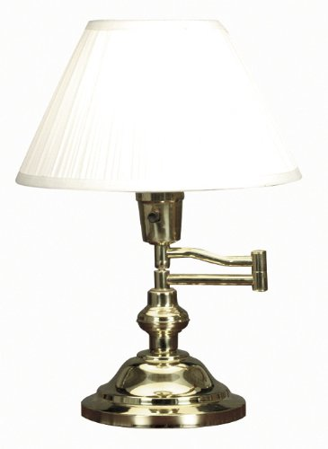 Kenroy Home 30163 Classic Swing Arm Desk Lamp, Polished Brass (Desk Traditional Brass Lamps)