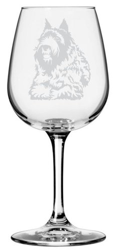 Bouvier des Flandres Dog Themed Etched All Purpose 12.75oz Libbey Wine Glass