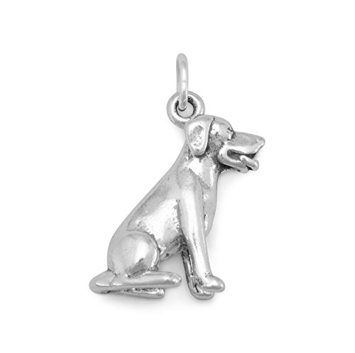 Dog Breed - Labrador Sitting Dog Charm Sterling Silver, Made in the USA - Dog Sitting Charm