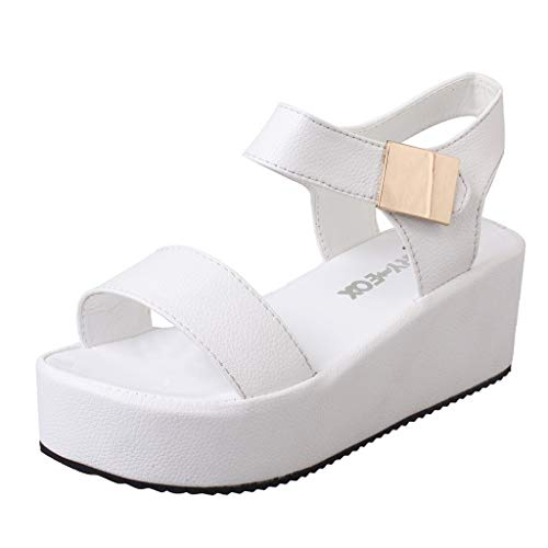 refulgence Women's Solid Shallow Shoes Peep Toe Casual Leisure Work Shoes Ladies Sandals(White,US: 5.5)