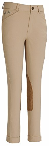 Equine Couture Girl's Coolmax Champion Front Zip Jods Breech with Euroseat, Safari, (Lycra Riding Pants)