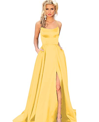 YMSHA Women's Straps Backless Satin Evening Prom Dresses with Split Long Evening Party Gown Yellow ()