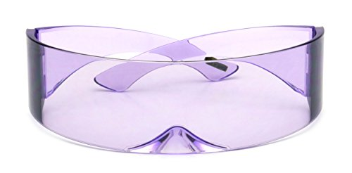 Futuristic Shield Sunglasses Monoblock Cyclops 100% UV400 (Purple, UV400) (Shield Lens Plastic Sunglasses)