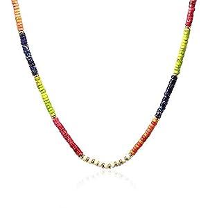 Anartxy Collier avec perles en pierre naturelle Donut pour femme en pierres et acier Couleur assortie Meilleur cadeau