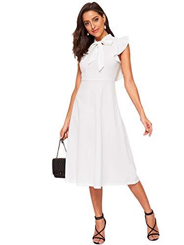 White Flutter Sleeve Dress - Verdusa Women's Elegant Ruffle Trim Tie Neck Flutter Sleeve A-Line Dress White XS