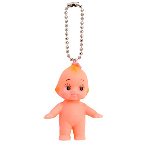 Vintage Repertory Japan Kewpie Baby Doll Ball Key Chain Necklace Pendant Charm Key-Ring Cupid Rubber Butterfly Hair Pin Girl Figure (Doll Key Chain)