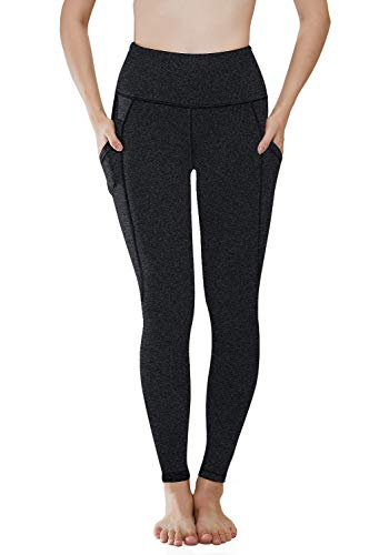 HISKYWIN Women High Waist Yoga Pants, Tummy Control, Workout Pants 4 Way Stretch Yoga Leggings with Pockets Charcoal-S