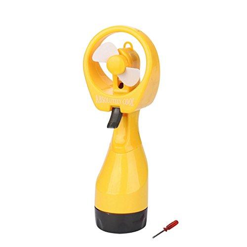 Chezaa Mini Fan,Portable Hand held Cooling Cool Water Spray Misting Fan Mist Travel Beach,27x10x7cm (Yellow)