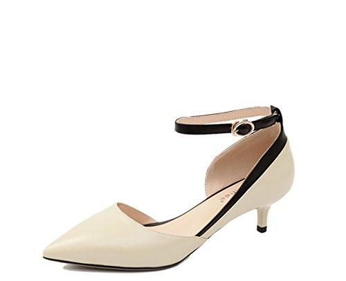 Talons Confort Hauts Cour Womens Robe Stiletto Pointu de Soirée ZXCB 5cm en Bout Vache Chaussures Robe de Beige4 Printemps de Cuir wqUAEUpX