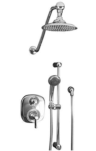 Atantis 10 Brushed Nickel Rain Shower System With Moen Valve