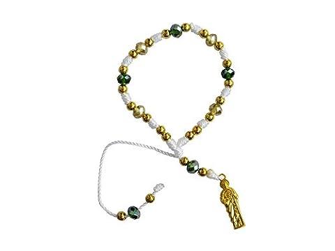 White Thread with Cristal Beads Saint Jude Bracelet Pulsera De San Judas Tadeo