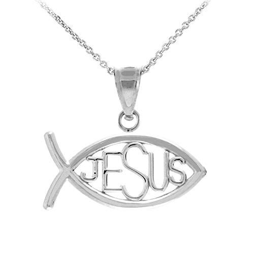 Horizontal Jesus Ichthus Charm Christian Fish Pendant Necklace, 20