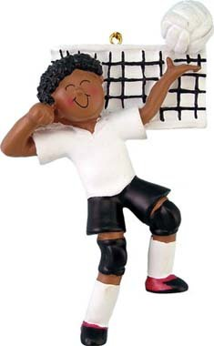 - African American Male Volleyball Player Christmas Ornament