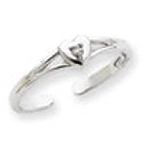 (10k White Gold Heart Center Authentic Solitaire Diamond Toe Ring)