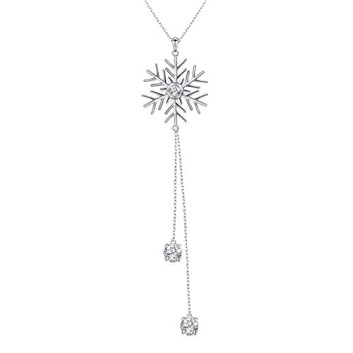 Long Chain Necklace S925 Sterling Silver Snowflake Sweater Dangle Pendant for Women 30'' Chain ()