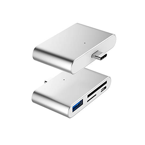 USB C OTG Card Reader, VOASTEK USB C Hub 2-Slot SD/TF/Micro SD Port Card Reader, USB C OTG to USB 3.0 Adapter and Micro USB Port with USB C Male Connector for Type C Smart Phones and Laptops Sliver (Otg Micro Sd Adapter)