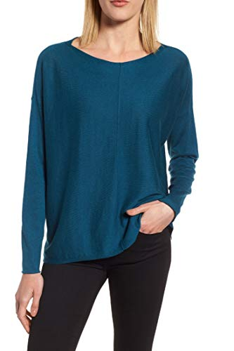 Eileen Fisher Organic Cotton Silk Boat Neck High/Low Sweater - Blue Spruce - Large