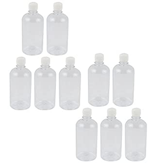 DealMux 10Pcs 500 ml de plástico transparente Lab sello de la botella de reactivo químico graduación