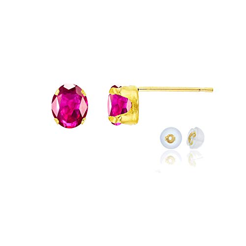 Genuine 14K Solid Yellow Gold 6x4mm Oval Created Red Ruby July Birthstone Stud Earrings