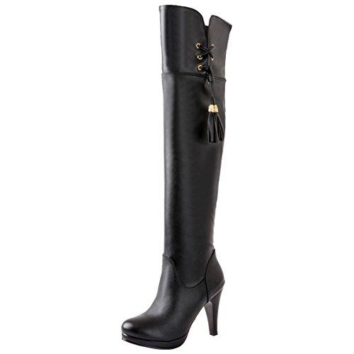 AIYOUMEI Damen Overknee Stiefel mit Reißverschluss und Fransen Stiletto High Heels Elegant Modern Winter Stiefel cyRqLPm