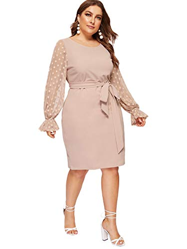 SheIn Women's Plus Size Elegant Mesh Contrast Pearl Beading Sleeve Stretchy Bodycon Pencil Dress Pink# 3X-Large