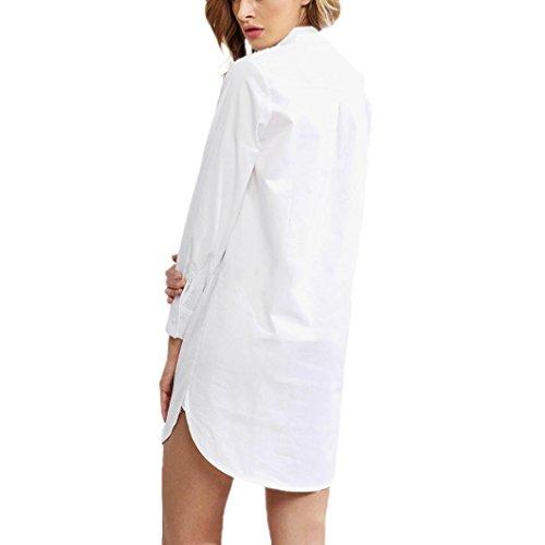 Transer ® Chemisier Femme,Sexy femmes à manches longues en vrac Tops Blouse Casual longue chemise Blanc pur(S-XL)