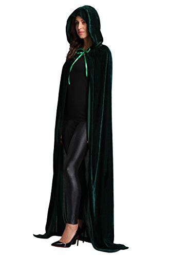Unisex Halloween Cloak Hooded Velvet Cosplay Costumes Cape Full Length L 59.06