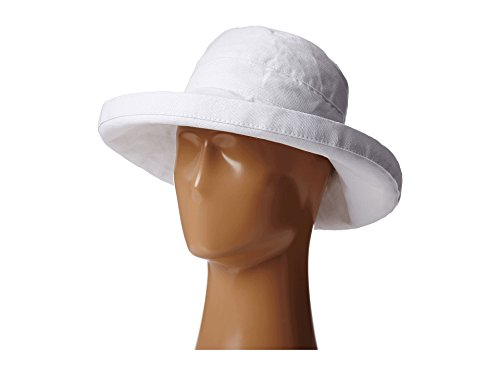 (Scala Women's Cotton Hat with Inner Drawstring and Upf 50+ Rating,White,One Size)
