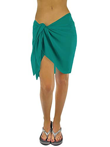Diva Sheer - Luxury Divas Womens Teal Short Sarong Wrap Cover Up
