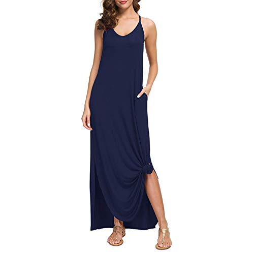 Exclusive Sleeveless Dress - Zando Womens Sleeveless Loose Halter Maxi Dresses Off Shoulder Long Dress Side Split with Pockets Beach Casual Dress Navy Blue Medium