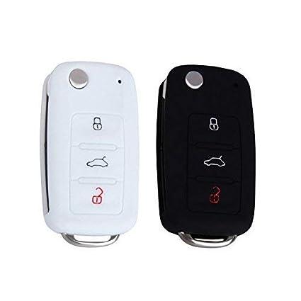 YLC 2 Piezas 3 Botones Silicona Funda para Llave de Coche Car Key Cover para VW Golf 6 Skoda Seat(Negro+Blanco)