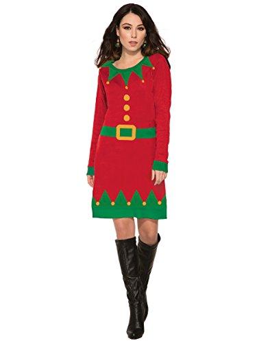 Forum Women's Ugly Christmas Sweater Dress, Elf, Red/Green,