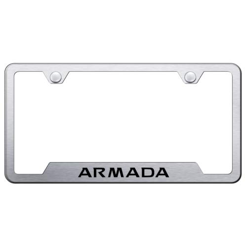Au-Tomotive Gold, INC. DanteGTS Nissan Armada Stainless Steel License Plate Frame Laser Etched Brushed Stainless Made in USA Frame Satin Matte