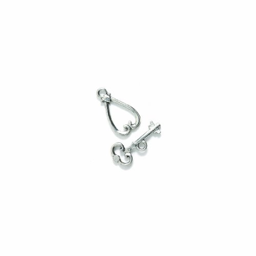 Shipwreck Beads Pewter Heart and Key Toggle Clasp, Metallic, Silver, 21mm, Set of 4 (Toggle Heart Pewter)